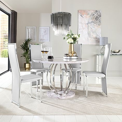 Savoy Round Grey Marble and Chrome Dining Table with 4 Celeste Light Grey Leather Chairs