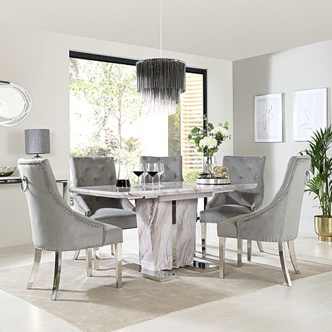 Vienna Grey Marble Extending Dining Table with 4 Imperial Grey Velvet Dining Chairs