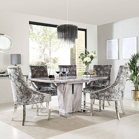 Vienna Grey Marble Extending Dining Table with 4 Imperial Silver Velvet Dining Chairs