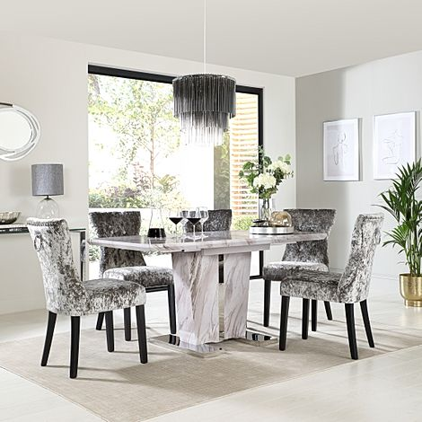 Vienna Grey Marble Extending Dining Table with 4 Kensington Silver Velvet Dining Chairs