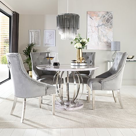 Savoy Round Grey Marble and Chrome Dining Table with 4 Imperial Grey Velvet Dining Chairs