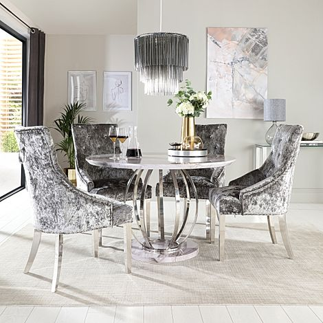 Savoy Round Grey Marble and Chrome Dining Table with 4 Imperial Silver Velvet Dining Chairs