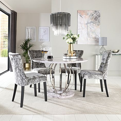 Savoy Round Grey Marble and Chrome Dining Table with 4 Kensington Silver Velvet Dining Chairs