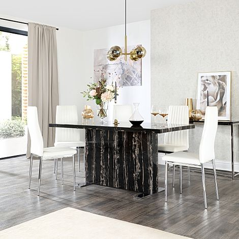 Magnus Black Marble Dining Table with 4 Leon White Leather Chairs