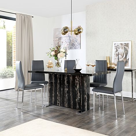 Magnus Black Marble Dining Table with 6 Leon Grey Leather Chairs