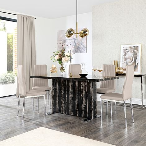 Magnus Black Marble Dining Table with 4 Leon Taupe Leather Chairs