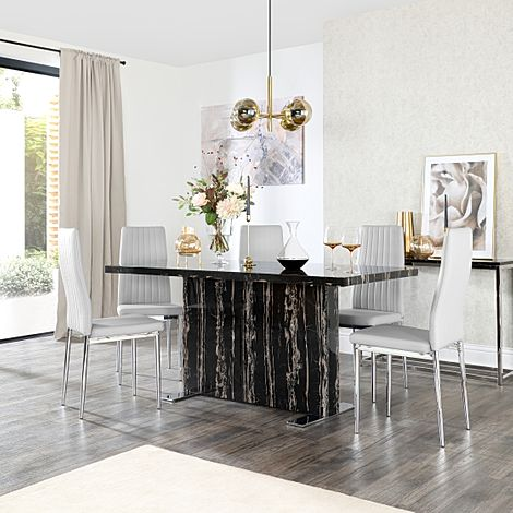 Magnus Black Marble Dining Table with 6 Leon Light Grey Leather Chairs