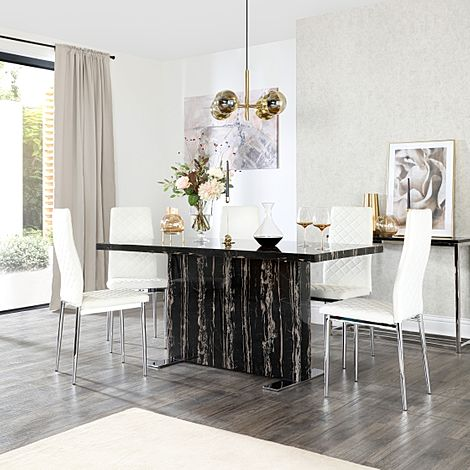Magnus Black Marble Dining Table with 6 Renzo White Leather Chairs
