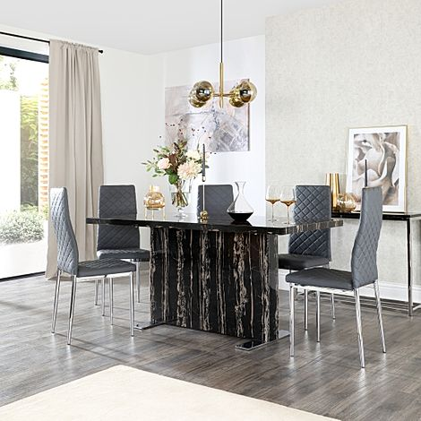 Magnus Black Marble Dining Table with 6 Renzo Grey Leather Chairs