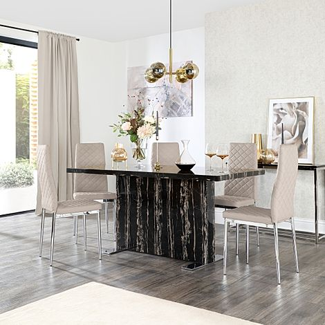 Magnus Black Marble Dining Table with 6 Renzo Taupe Leather Chairs