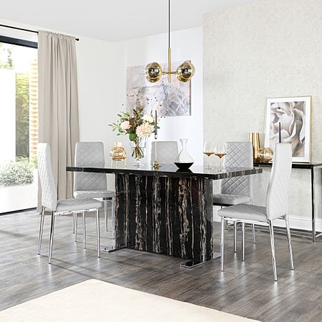 Magnus Black Marble Dining Table with 6 Renzo Light Grey Leather Chairs