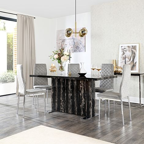 Magnus Black Marble Dining Table with 6 Renzo Grey Velvet Chairs