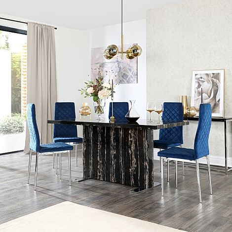 Magnus Black Marble Dining Table with 6 Renzo Blue Velvet Chairs