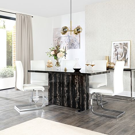 Magnus Black Marble Dining Table with 6 Perth White Leather Chairs