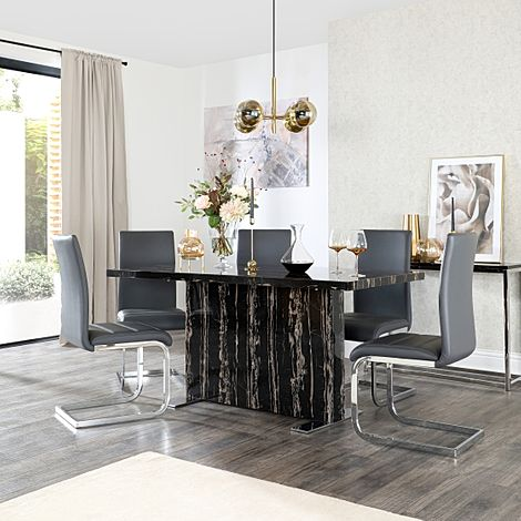 Magnus Black Marble Dining Table with 6 Perth Grey Leather Chairs
