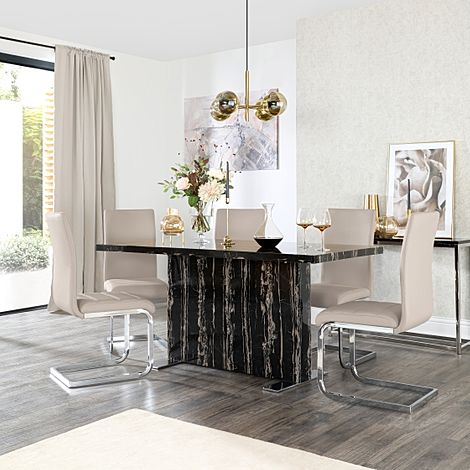 Magnus Black Marble Dining Table with 6 Perth Taupe Leather Chairs