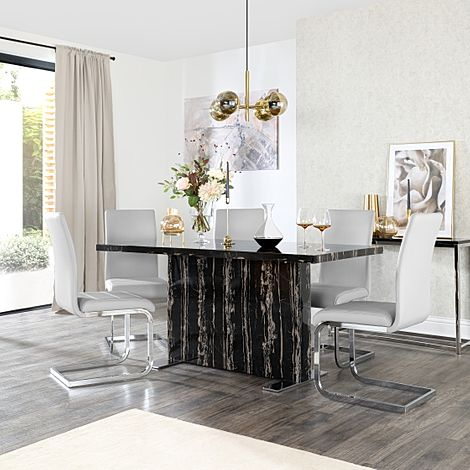 Magnus Black Marble Dining Table with 6 Perth Light Grey Leather Chairs