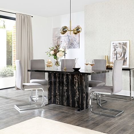 Magnus Black Marble Dining Table with 6 Perth Grey Velvet Chairs