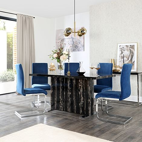 Magnus Black Marble Dining Table with 6 Perth Blue Velvet Chairs