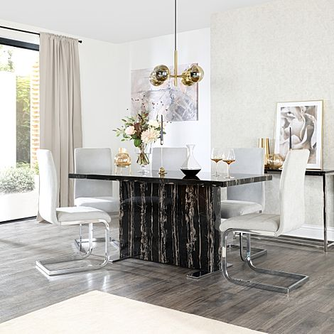 Magnus Black Marble Dining Table with 6 Perth Dove Grey Fabric Chairs