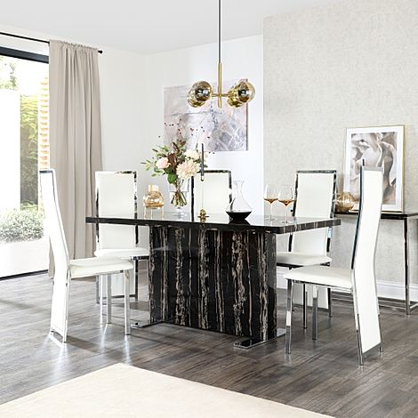 Magnus Black Marble Dining Table with 6 Celeste White Leather Chairs