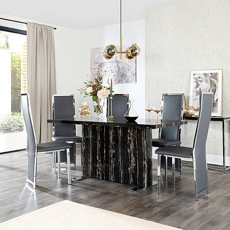 Magnus Black Marble Dining Table with 6 Celeste Grey Leather Chairs