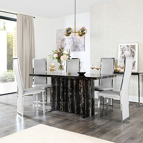 Magnus Black Marble Dining Table with 6 Celeste Light Grey Leather Chairs