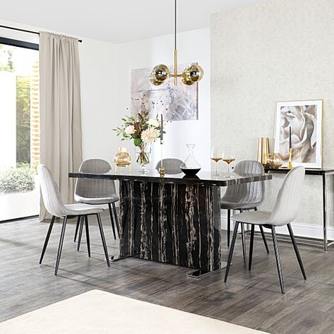Magnus Black Marble Dining Table with 6 Brooklyn Grey Velvet Chairs