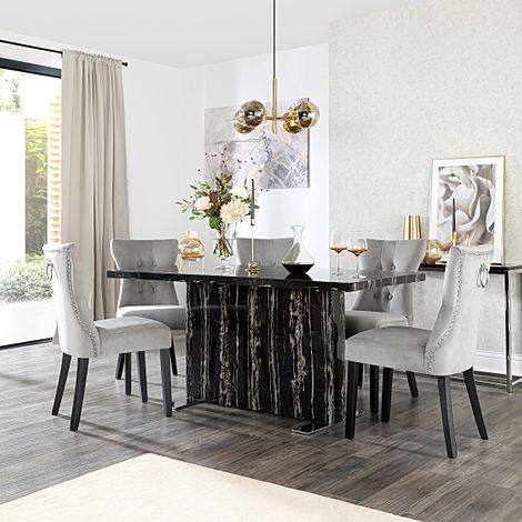 Magnus Black Marble Dining Table with 6 Kensington Grey Velvet Chairs