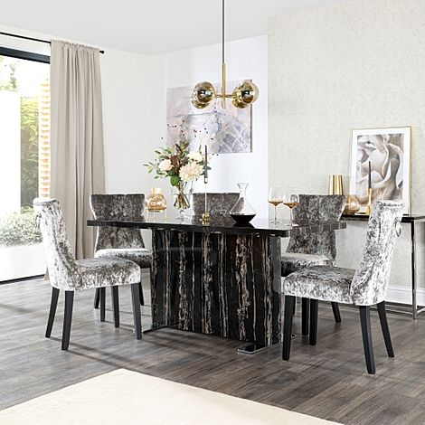 Magnus Black Marble Dining Table with 6 Kensington Silver Velvet Chairs