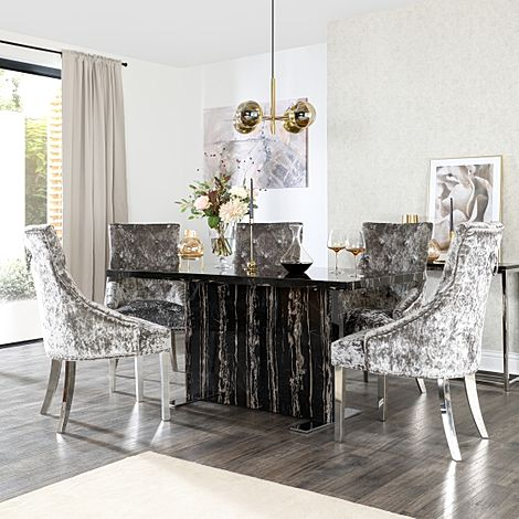 Magnus Black Marble Dining Table with 6 Imperial Silver Velvet Chairs