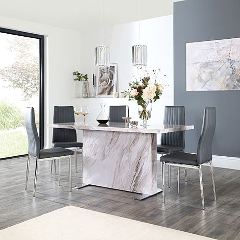 Magnus Grey Marble Dining Table with 6 Leon Grey Leather Chairs