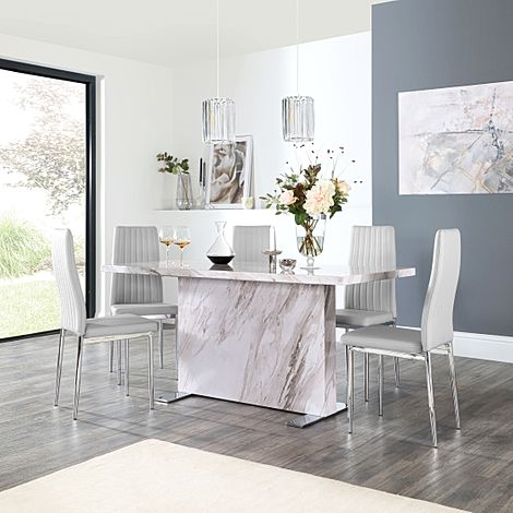 Magnus Grey Marble Dining Table with 6 Leon Light Grey Leather Chairs