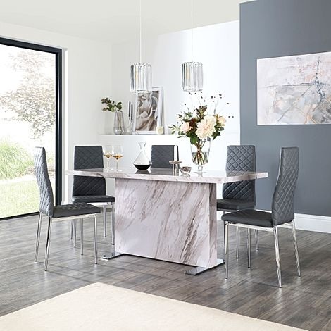 Magnus Grey Marble Dining Table with 4 Renzo Grey Leather Chairs