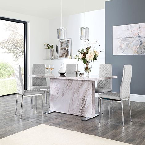 Magnus Grey Marble Dining Table with 4 Renzo Light Grey Leather Chairs