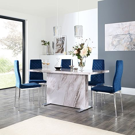 Magnus Grey Marble Dining Table with 6 Renzo Blue Velvet Chairs