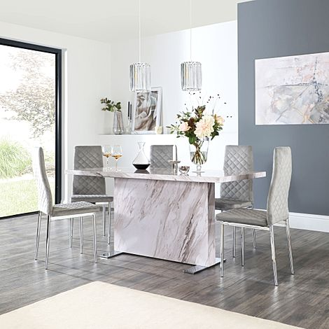 Magnus Grey Marble Dining Table with 6 Renzo Grey Velvet Chairs