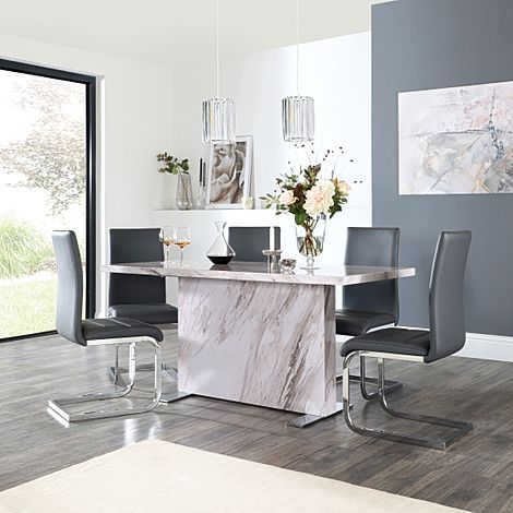 Magnus Grey Marble Dining Table with 4 Perth Grey Leather Chairs