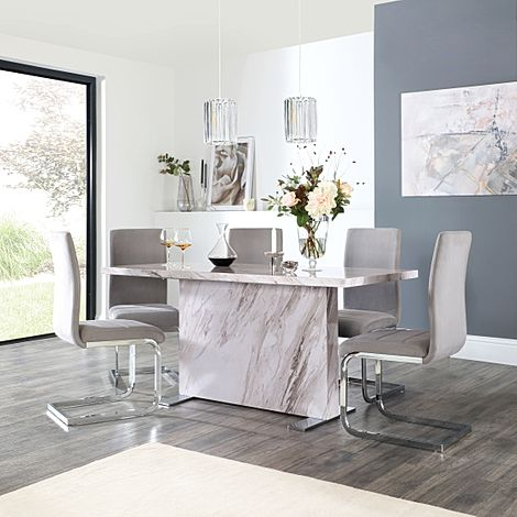 Magnus Grey Marble Dining Table with 6 Perth Grey Velvet Chairs