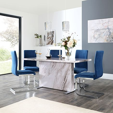Magnus Grey Marble Dining Table with 6 Perth Blue Velvet Chairs