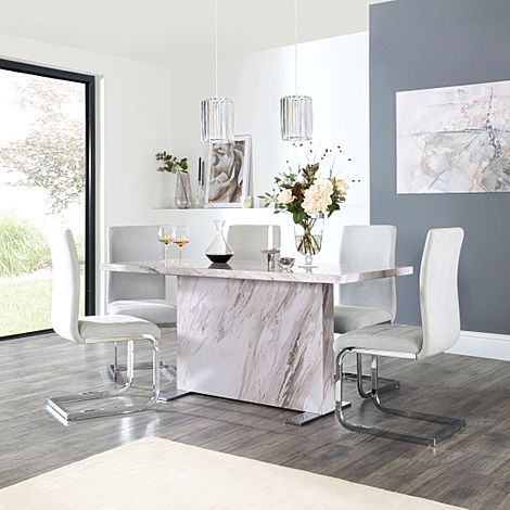 Magnus Grey Marble Dining Table with 6 Perth Dove Grey Fabric Chairs