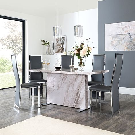 Magnus Grey Marble Dining Table with 6 Celeste Grey Leather Chairs