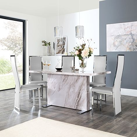 Magnus Grey Marble Dining Table with 6 Celeste Light Grey Leather Chairs