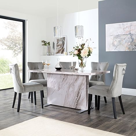 Magnus Grey Marble Dining Table with 4 Kensington Grey Velvet Chairs