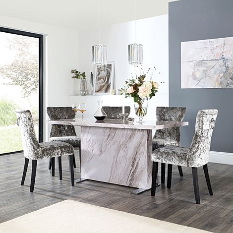 Magnus Grey Marble Dining Table with 6 Kensington Silver Velvet Chairs