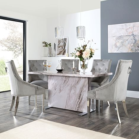 Magnus Grey Marble Dining Table with 6 Imperial Grey Velvet Chairs