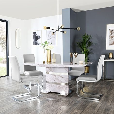 Komoro Grey Marble Dining Table and 6 Perth Light Grey Leather Chairs