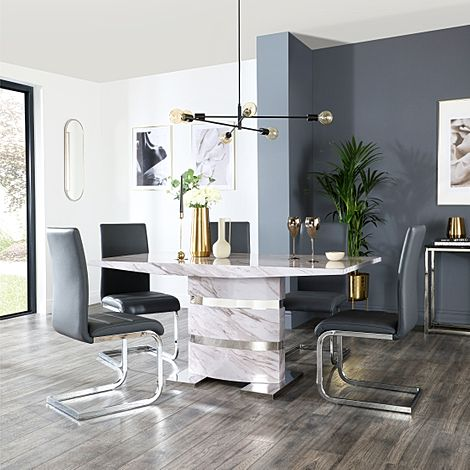 Komoro Grey Marble Dining Table and 4 Perth Grey Leather Chairs