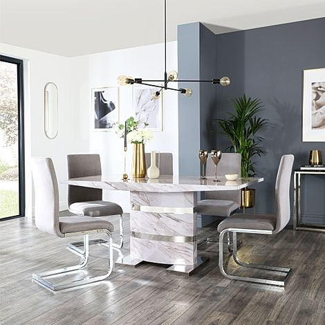 Komoro Grey Marble Dining Table and 6 Perth Grey Velvet Chairs