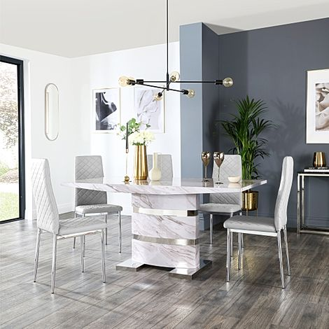 Komoro Grey Marble Dining Table and 6 Renzo Light Grey Leather Chairs